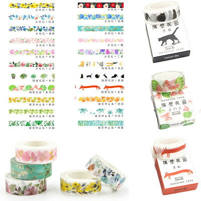 Decorative Roll Washi Tape Sticky Paper Masking Adhesive Craft Colorful DIY 1PC