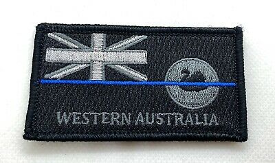 WA Police Patch *, Law Enforcement, State Flag, Thin Blue Line, Hooks Rear,TBL