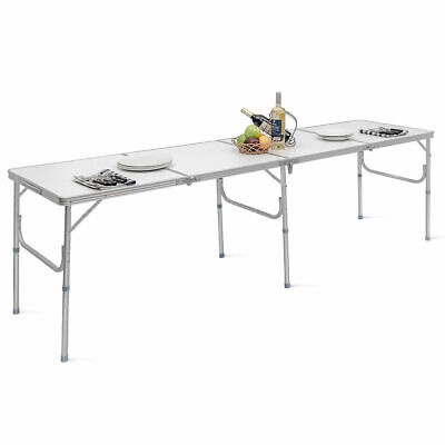 8FT Aluminum Folding Picnic Camping Table Lightweight In/Outdoor Garden Party