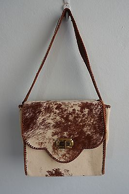Vintage 1970s Light Brown & Cream Cow Hide Fur Leather Plaited Trim Shoulder Bag