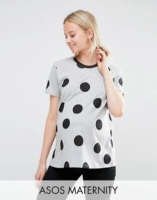 Maternity Tshirt Grey With Black Spots Size 8