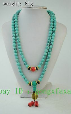 China Collectibles Handwork Old Turquoise Toyed Prayer Bead Necklace
