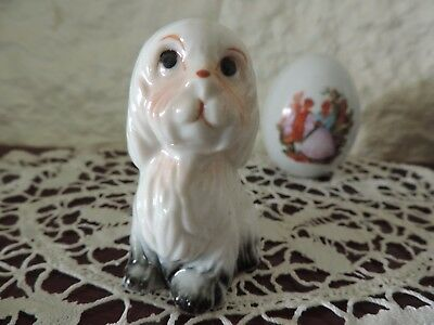 Vintage Porcelain Miniature Maltese Puppy Hand Painted Under Glaze Very Cute ExC
