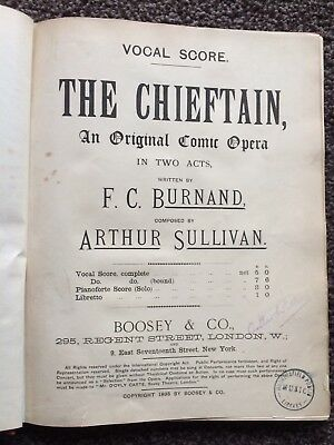 THE CHIEFTAIN Vocal Score Arthur Sullivan F C Burnand (no Gilbert)