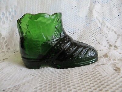Vintage Bottle Small Green Glass Boot Shoe Ornament Excellent Condition