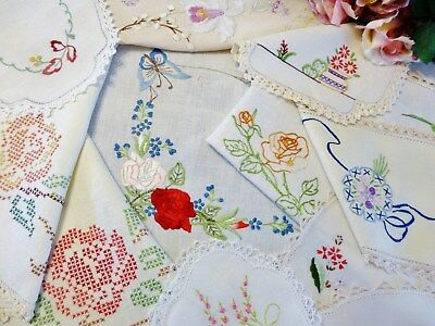 11 Vintage Hand Embroidered Items