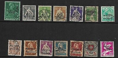 Collection of Switzerland Stamps with United Nations Over-Printing