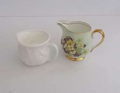 "Small Windsor China ""Violets and Primroses"" Jug and Unmarked White glazed Jug."