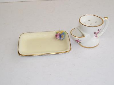 Hammersley Miniature Shaving Mug and Crown Staffordshire Floral Encrusted Tray.