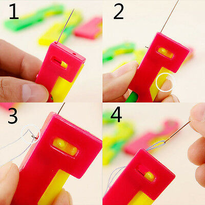 3Pcs Elderly Automatic Needle Threader Thread Guide Easy To Use Sewing Tool Kit