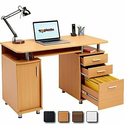 Beech Desk Drawer Shelves PC Filing Workstation keyboard Storage Computer Office