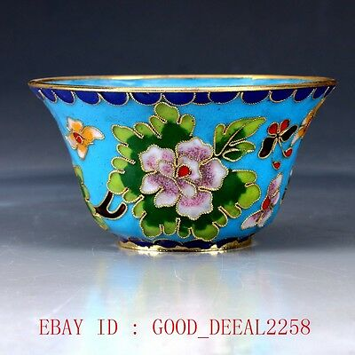 Chinese Cloisonne Hand Carved Flower Bowl JTL058