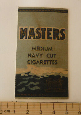 OLD CIGARETTE PACKET BOX LABEL, 1950s MASTERS MEDIUM NAVY CUT ENGLAND