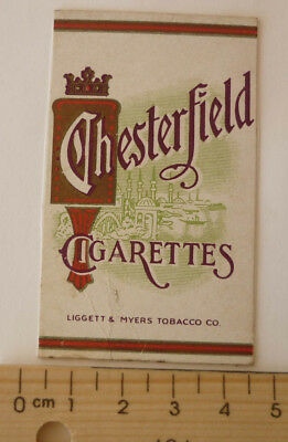 OLD CIGARETTE PACKET BOX LABEL, 1950s CHESTERFIELD, LIGGETT & MYERS TOBACCO Co