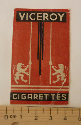 OLD CIGARETTE PACKET BOX LABEL, 1950s VICEROY BRAND