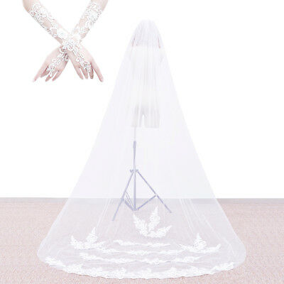 Wedding Bridal Veil Cathedral Chapel Applique Edge with Comb + Lace Gloves FA095
