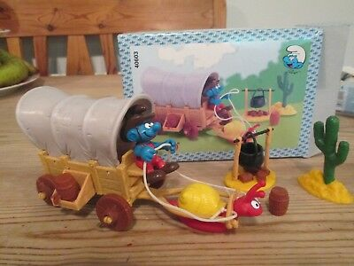peyo smurf covered wagon set with figure and accessories schleich 40603 boxed