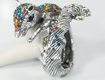 RARE One of a Kind Multi Color Crystal Squirrel Jewelry Hinge Bangle Bracelet