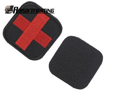 Military Combat Tactical Medic Cross Embroidery Patch Badge with Hook Loop Red