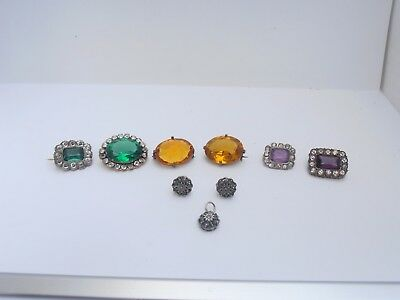 Collection Of Georgian / Victorian Paste Brooches . Natural Emerald Earrings