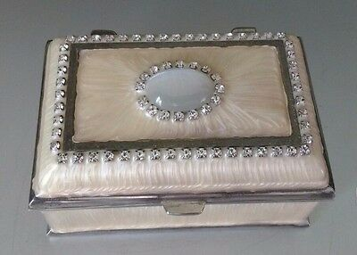 Beautiful Vintage Mother Of Pearl Enamelled Silver Plated Trinket box