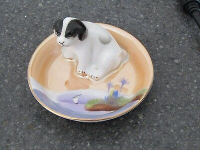 Noritake Japanese Porcelain Small Novelty Pin Dish with a Black and White Puppy