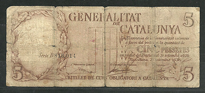 Escaso Billete De 5 Ptas. 1936. Generalitat De Catalunya. Guerra Civil