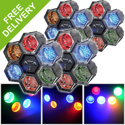 4x Beamz Linkable LED Light Multi-Colour Effects 6 Pods House Party Lighting