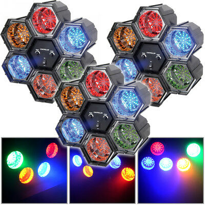 3x Beamz Linkable LED Light Multi-Colour Effects 6 Pods House Party Lighting