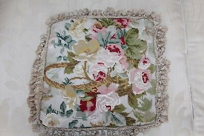 Vintage Tapestry Handcrafted Cushion Cover Floral Pink Needlepoint