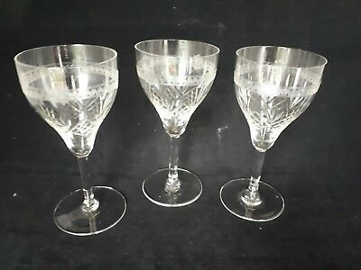 3 Victorian Edwardian Etched  Liqour sherry  glasses ref 6e