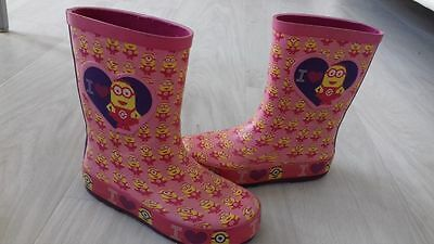girls wellies infant size 9 minions pink
