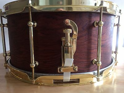 "custom bubinga snare drum, 14x7"", brass hardware, birch shell by Alan Tocknell"