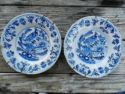 Two Antique Dutch Delft Plates/charger Flowers And Bird