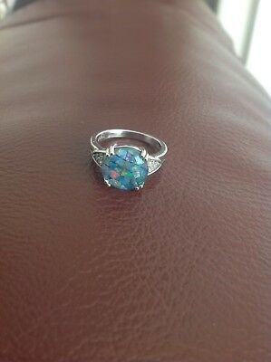 Mosaic opal and white topaz ring Size P/Q