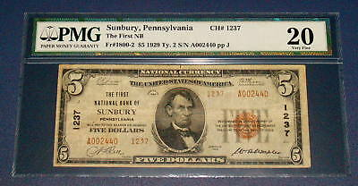 PMG 1929 Five Dollar $5 SUNBURY PA. VF 20 National Currency Note 1237