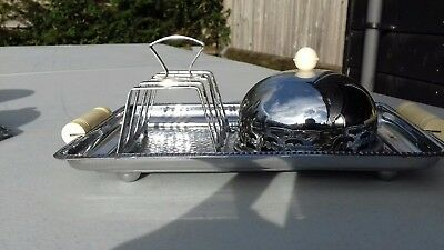 Vintage chrome toast & jam breakfast tray set