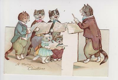 Victorian Christmas Card Cats Choir Louis Wain By Ernest Nister Anthropomorphic