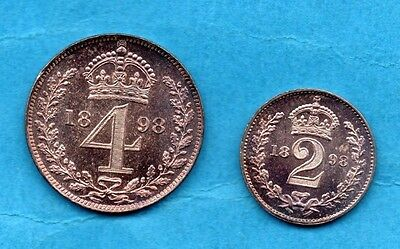 1898 Queen Victoria Silver Maundy Coins.  Twopence & Fourpence.  High Grade.