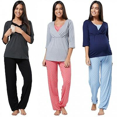 Happy Mama. Women's Maternity Top Nursing Breastfeeding Pyjamas Nightwear. 060p