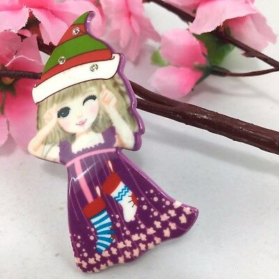 cute beautiful gorgeous colorful little girl blonde hair christmas hat brooch