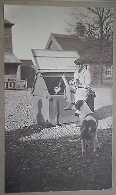 VINTAGE PHOTO of HUNTING HOUNDS.KEEPER & PUPS