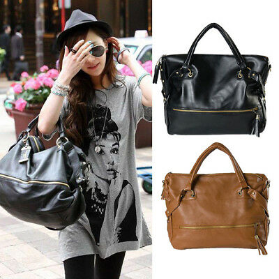 New Fashion Leisure Women Girl Large PU Leather Shoulder Handbag Tote Hobo Bag