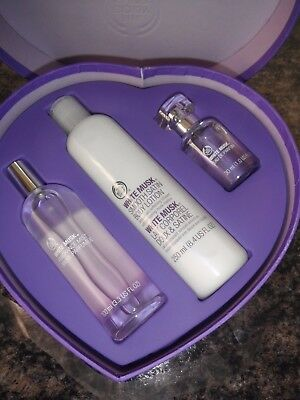 The Body Shop White Musk in Heart Shaped Gift Set Brand New