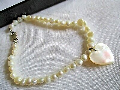 "925 Sterling Silver Freshwater Pearl 7 1/2"" Bracelet Mop Heart Charm,925 Clasp"