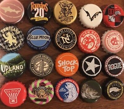 Beer Bottle Cap Lot Of 20 Different Micro Unique Rare Collecting Or Crafts