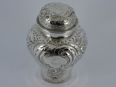 Georgous Solid Sterling Silver Embossed Tea Caddy Canister London 1881 199G
