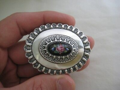 Antique Victorian George Stockwell Silver Enamel Brooch