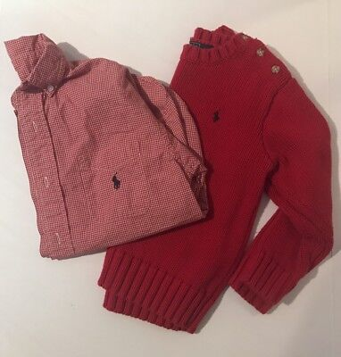 Polo Ralph Lauren Boy's Sweater Button Down Shirt Lot Size 6 Small Red Plaid