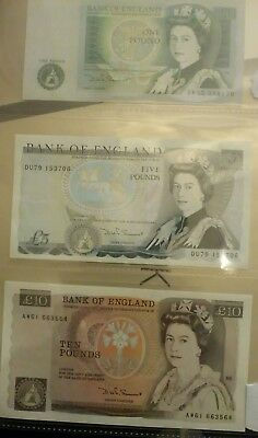 1980's Mint £10 ,£5 ,£1, pound bank notes ready for any collection.